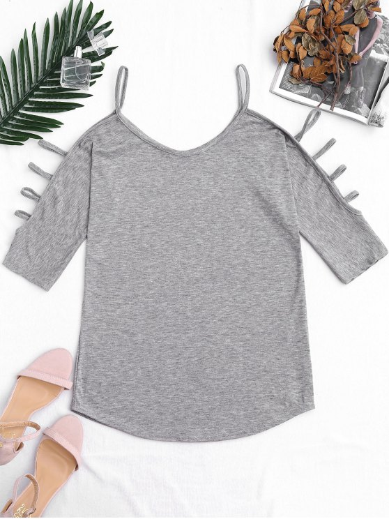 outfit Cut Out Sleeve Cold Shoulder Top - GRAY S