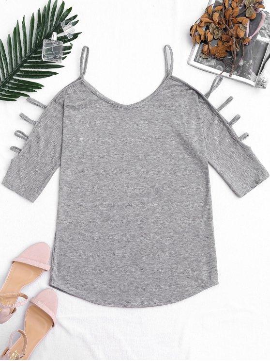 Recortar la manga de la parte superior del hombro frío - Gris S