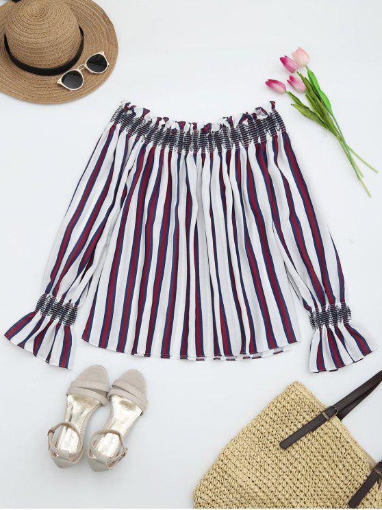 latest Striped Ruffles Off Shoulder Blouse - RED S