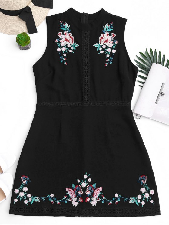 unique Floral Embroidered Lace Trim Mini Dress - BLACK M
