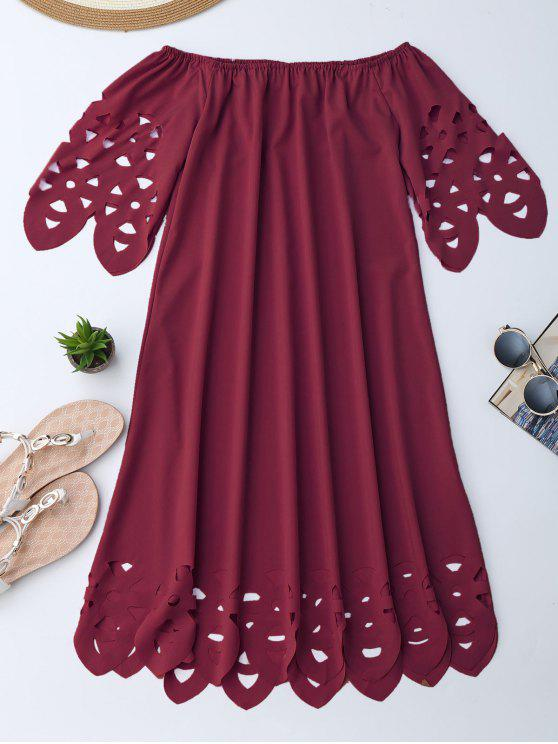 trendy Off The Shoulder Flared Dress - BURGUNDY M