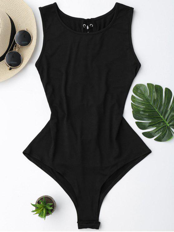 affordable Sleeveless Lace Up Back Bodysuit - BLACK XL
