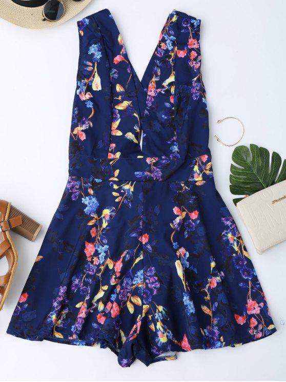 trendy Floral Print Cross Back Plunge Romper - ROYAL XL