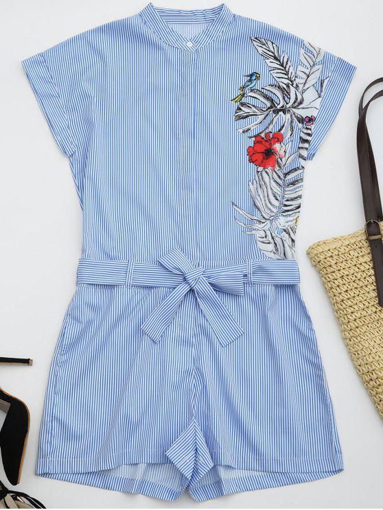 fashion Striped Graphic Belted Romper With Pockets - STRIPE S