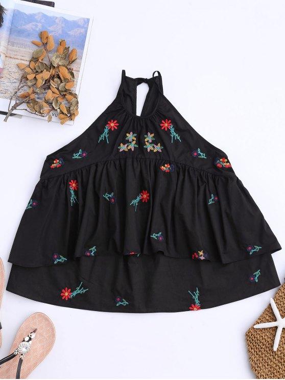 Camiseta sin mangas con capas y bordados florales - Negro S
