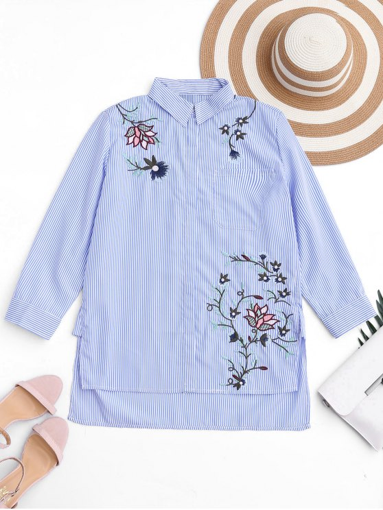 women's Embroidered Stripes High Low Shirt - STRIPE L