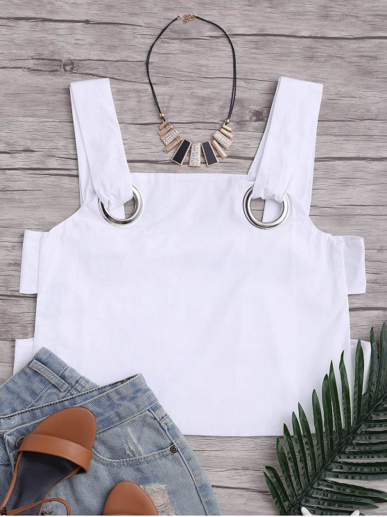online Loose Hollow Out Tank Top with Metal Rings - WHITE M