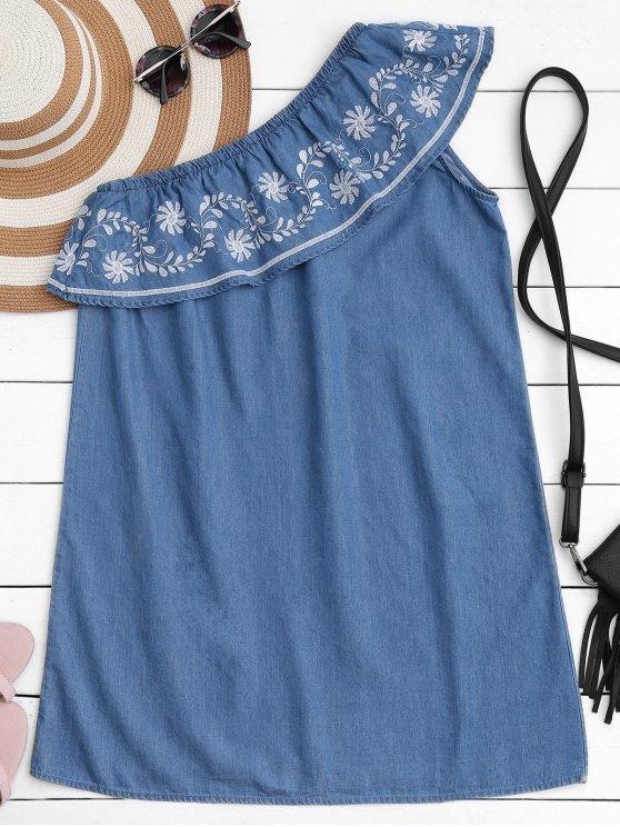 Robe décontractée en une épaule Ruffles brodées - Denim Bleu S