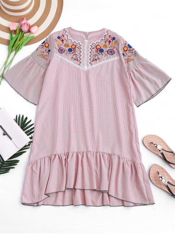 fancy Ruffles Stripes Sheer Embroidered Shift Dress - STRIPE L