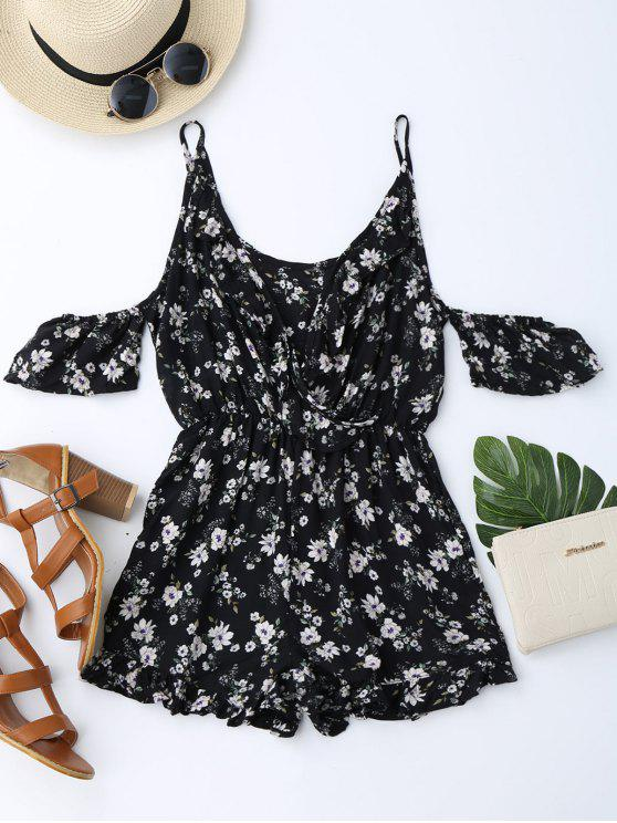 hot Cold Shoulder Ruffle Cami Floral Romper - BLACK S