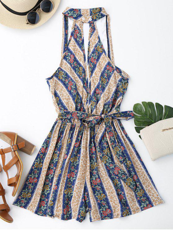 trendy Mixed Print Boho Plunge Romper - FLORAL L