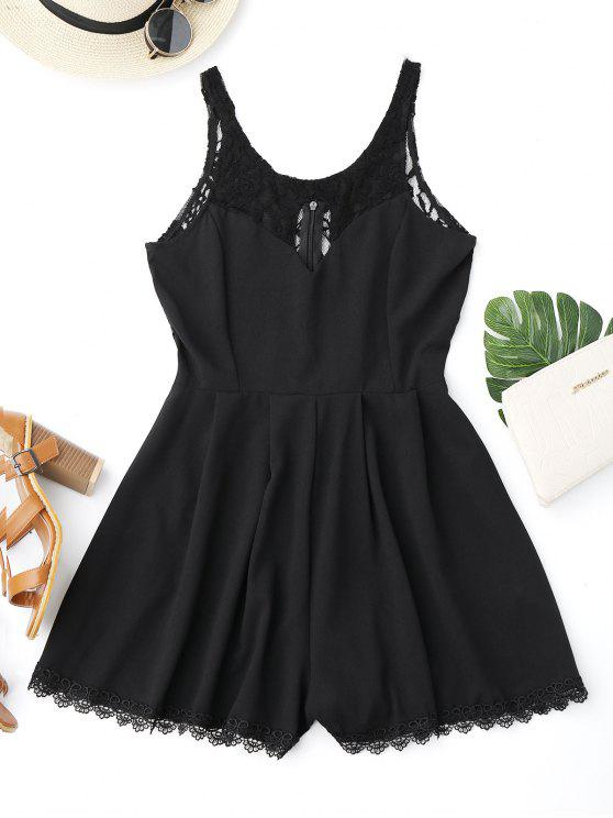 fashion Sleeveless Cutout Lace Insert Romper - BLACK S