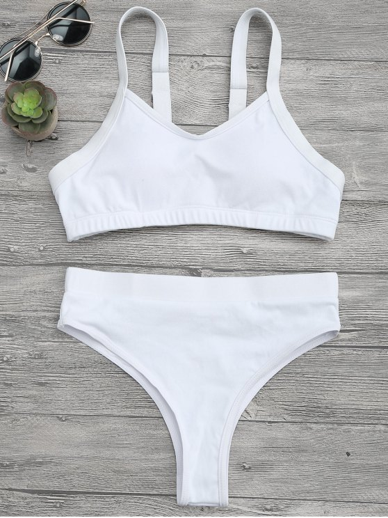 shops High Cut Bralette Bikini Top and Bottoms - WHITE M