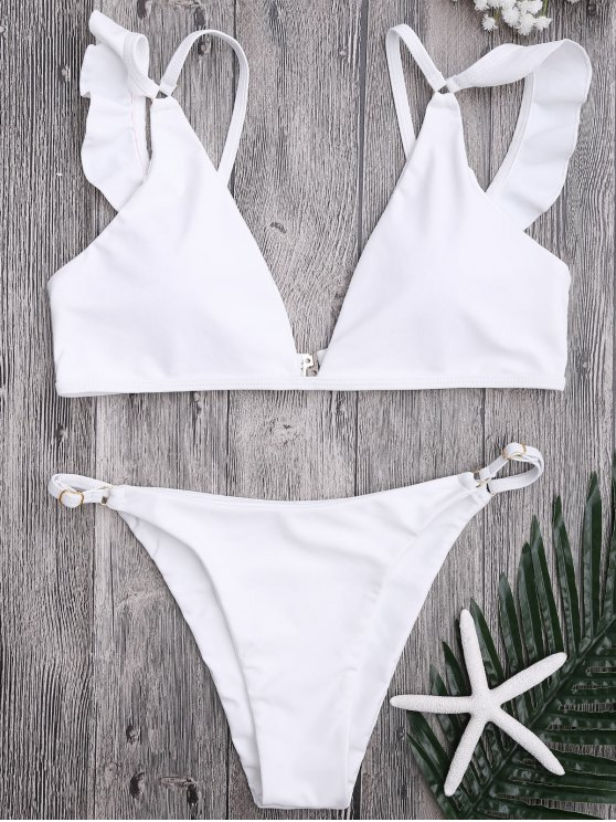 affordable Plunge Adjustable String Bikini Set - WHITE L