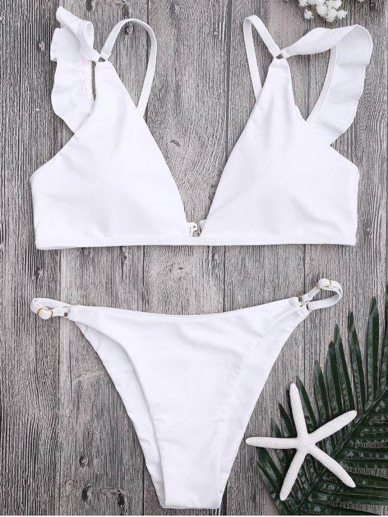 affordable Plunge Adjustable String Bikini Set - WHITE L