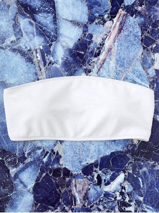 chic Textured Bandeau Bikini Top - WHITE L
