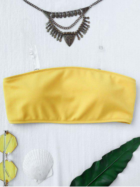 affordable Textured Bandeau Bikini Top - YELLOW M
