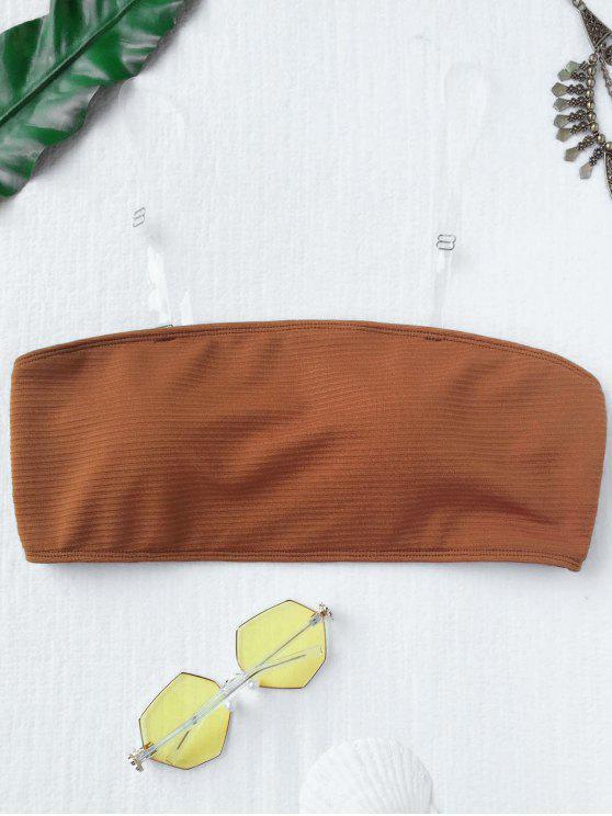 women Textured Bandeau Bikini Top - BROWN M