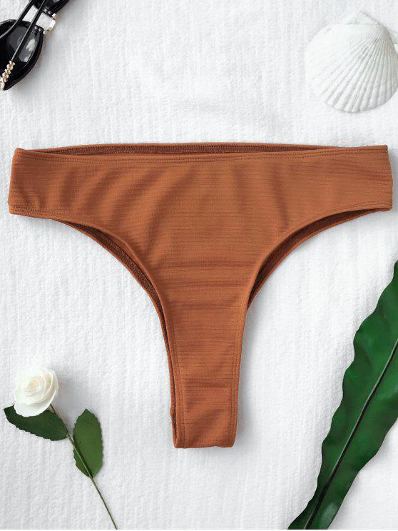 shops Textured High Leg Bikini Bottoms - BROWN L