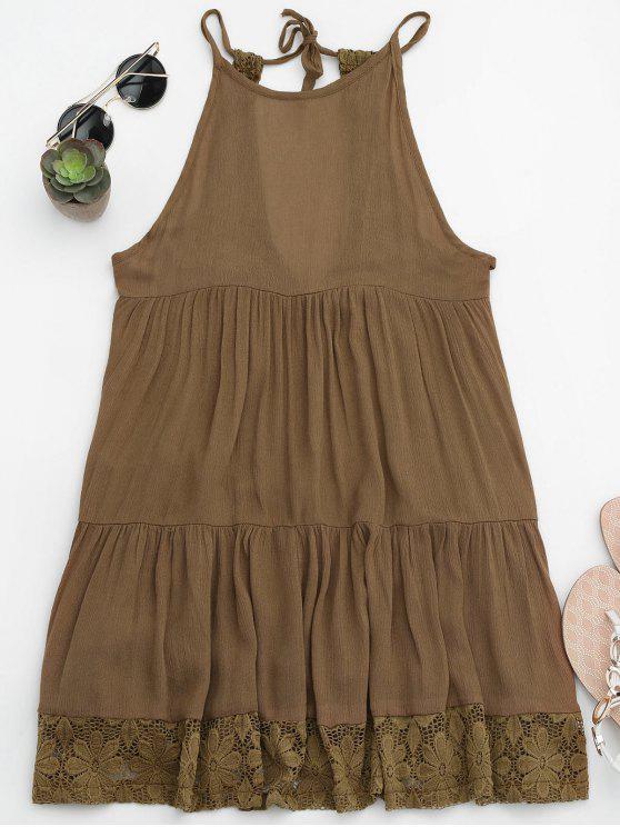 women's Halter Tiered Beach Cover Up Dress - BROWN M