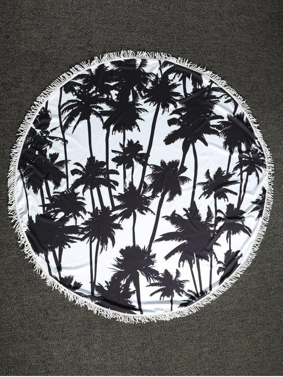 lady Palm Tree Round Beach Throw - WHITE AND BLACK ONE SIZE