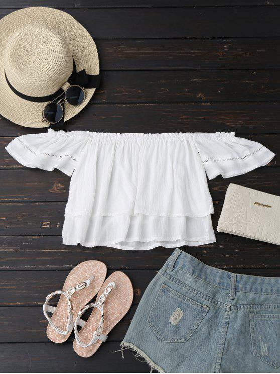 affordable Off Shoulder Ruffles Layered Top - WHITE M