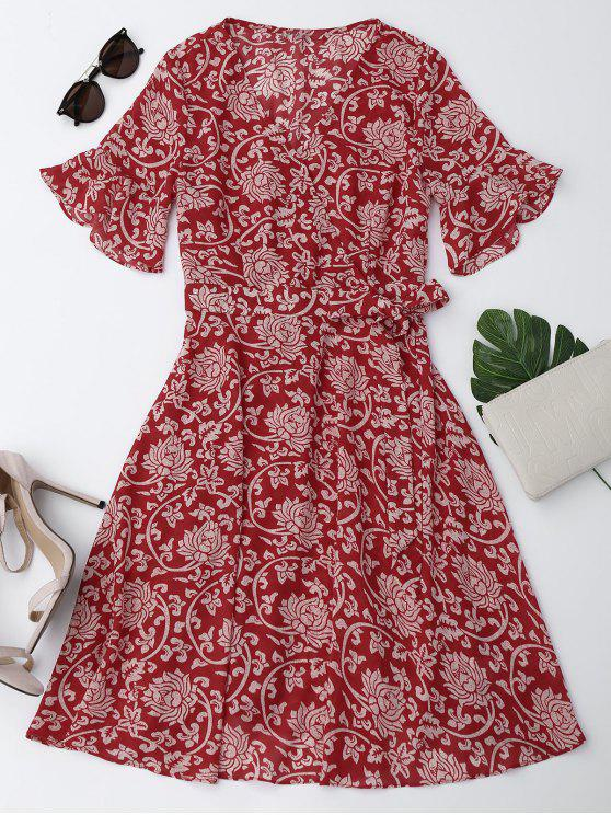 women's Bell Sleeve Chiffon Floral Self Tie Dress - RED M
