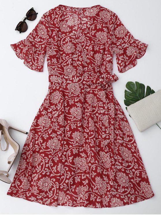 Vestido Floral de Gasa con Lazo con Manga en Forma de Campanilla - Rojo L