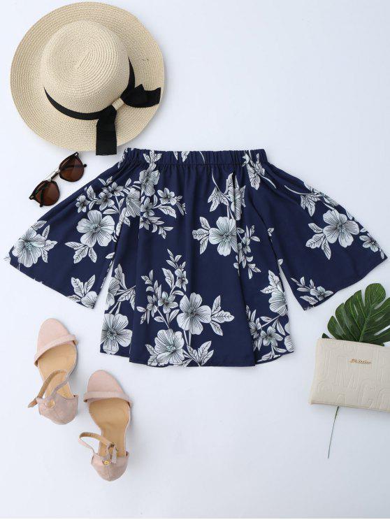 Blouse à épaules tombantes imprimée de motif floral - Bleu Cadette XL