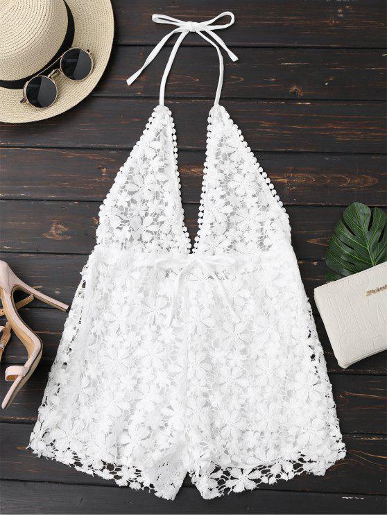 Macaquito  de Crochet Com Decote e Frente Única - Branco L