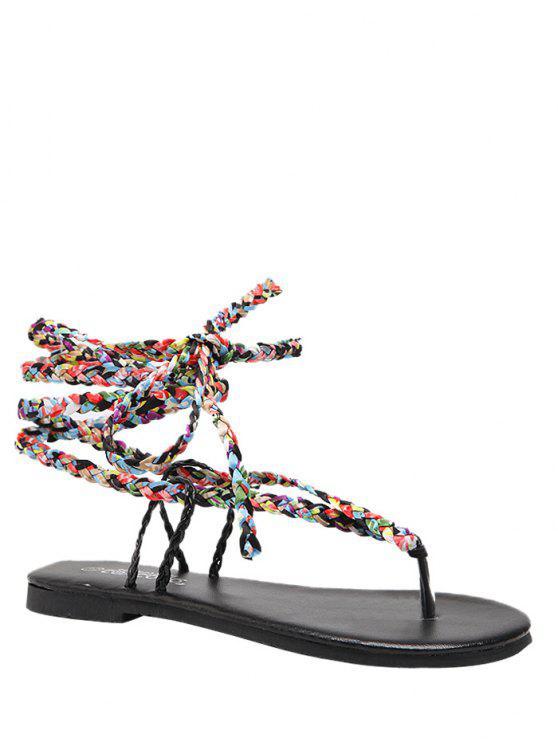 Weave Multicolor Tie Up Sandals - Noir 37