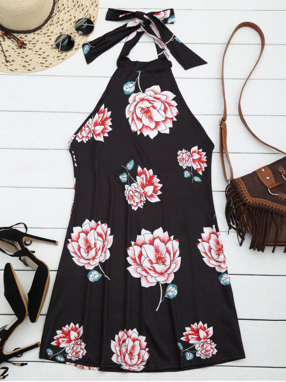 Robe Imprimé Floral à Col Halter Dos Nu - Noir L