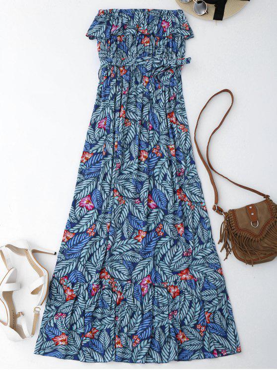 فستان طباعة الورقة بلا اكتاف ماكسي غلاف - الأزهار L