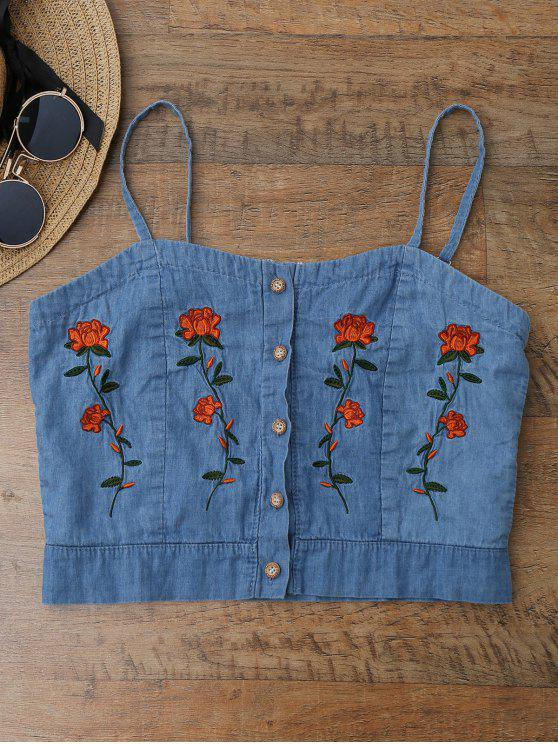 women Cami Floral Embroidered Denim Crop Top - ICE BLUE S