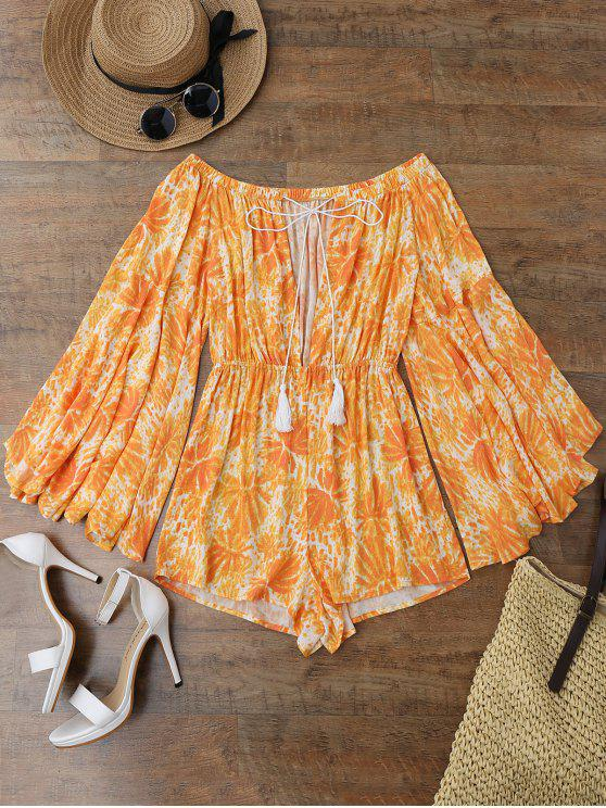 women's Printed Flare Sleeve Off Shoulder Beach Romper - ORANGE L