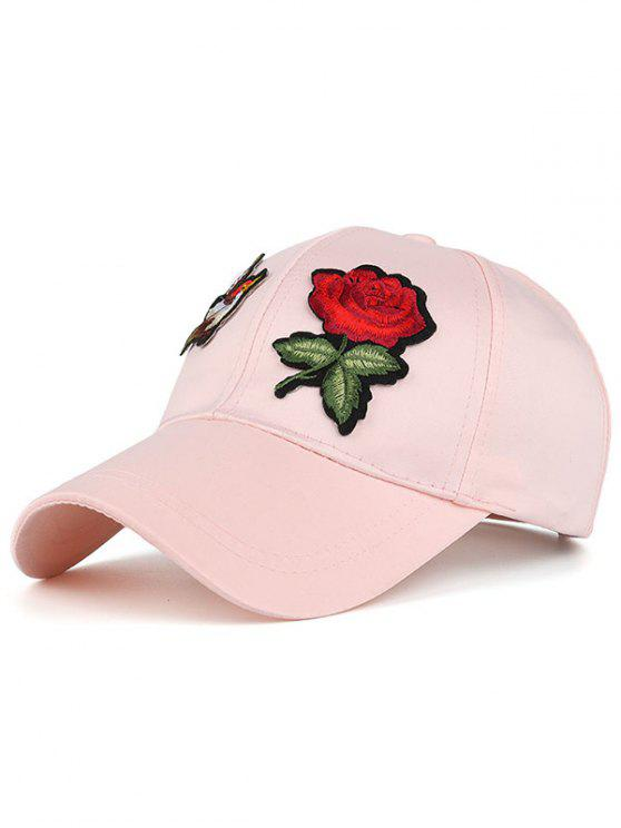 outfits Bird Rose Patchwok Baseball Hat - PINK