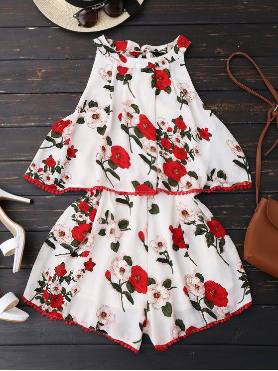 trendy Floral Print Flowy Popover Romper - WHITE M