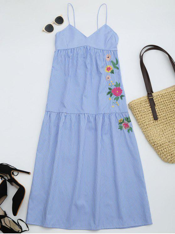 lady Embroidered Cami Tiered Midi Dress - STRIPE L