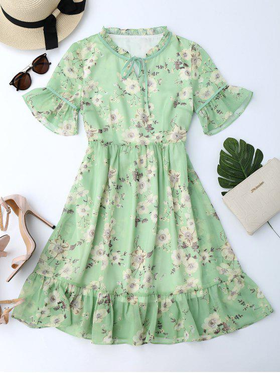 affordable Ruffles Tiny Floral Chiffon Dress - LIGHT GREEN XL