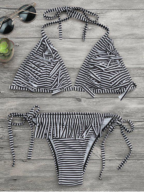 0704f457ac2 19% OFF] 2019 Fringed Striped Tanga String Bikini Set In WHITE AND ...