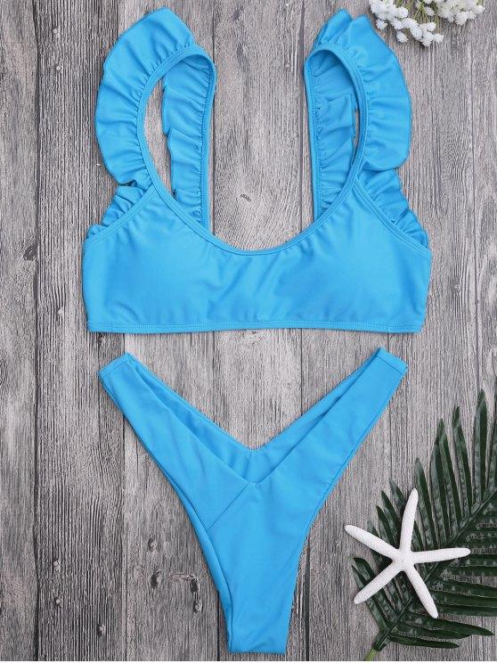 women Ruffle Strap High Cut Thong Bikini Set - BLUE L