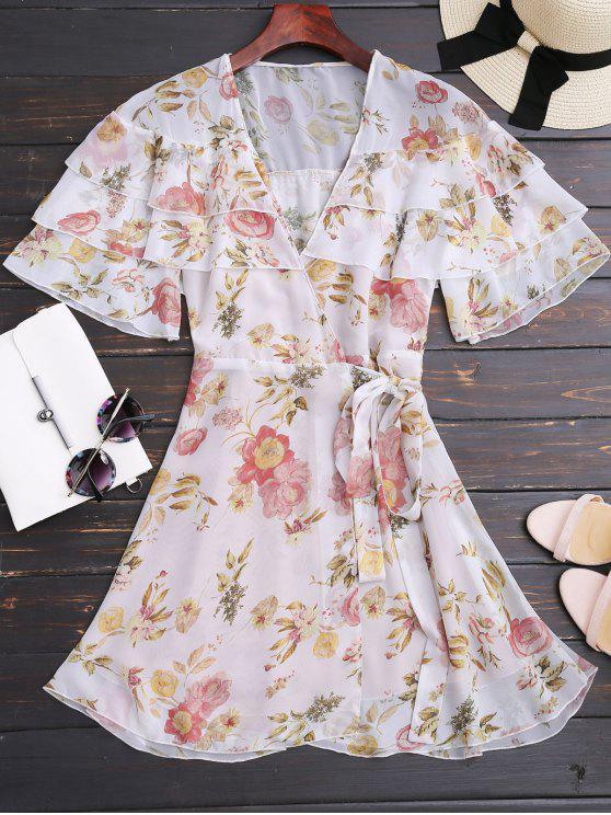 Floral Flounces Mini vestido envuelto - Floral S