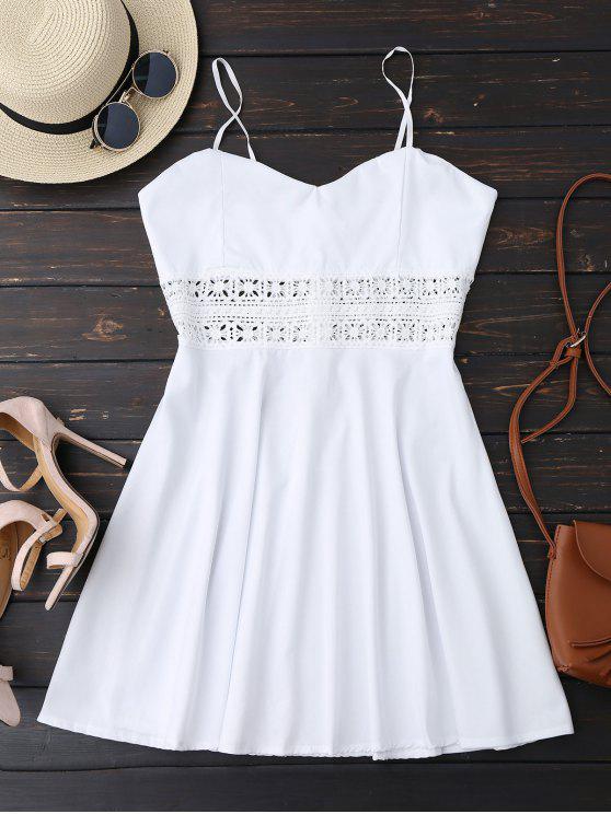 Vestido de Patinador de Sol con Tirantes Finos con Ganchillo Ahuecado - Blanco XL