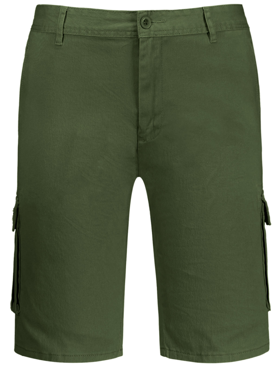 hot Multi Pockets Bermuda Cargo Shorts - ARMY GREEN 35