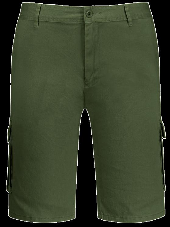 Multi bolsillos Bermuda Cargo Shorts - Verde del ejército 35