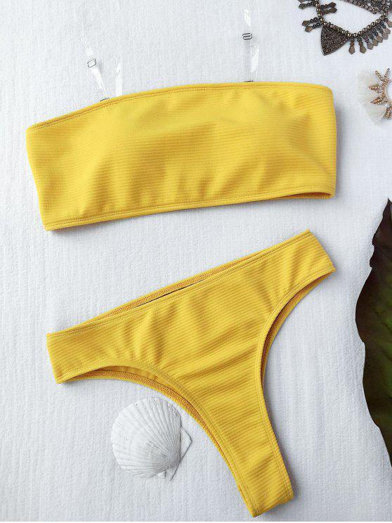 unique Textured High Leg Bandeau Bikini Set - YELLOW L