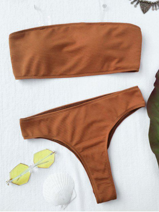 women Textured High Leg Bandeau Bikini Set - BROWN S