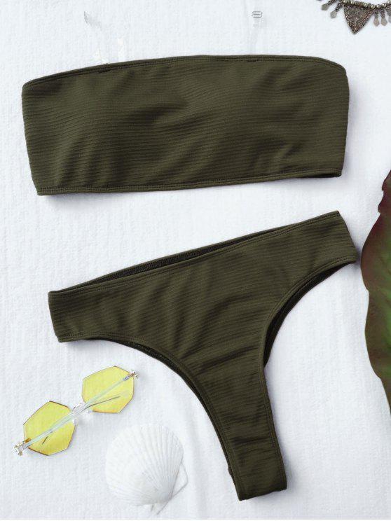lady Textured High Leg Bandeau Bikini Set - GREEN S