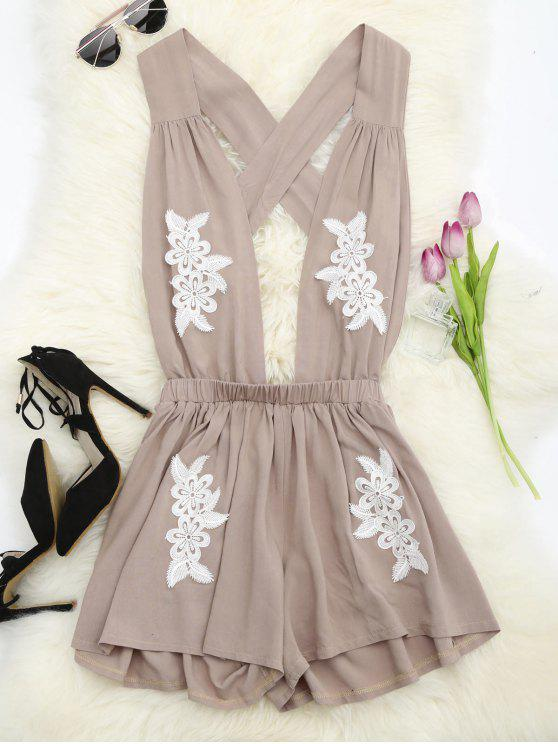 trendy Halter Floral Patched Open Back Romper - YELLOWISH PINK S