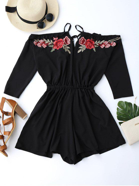 Floral Applique Cold Shoulder Romper - Preto L